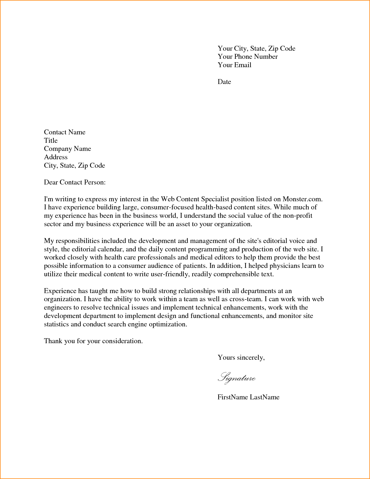 Cover Letter Sample For Job Application Basic Appication The South