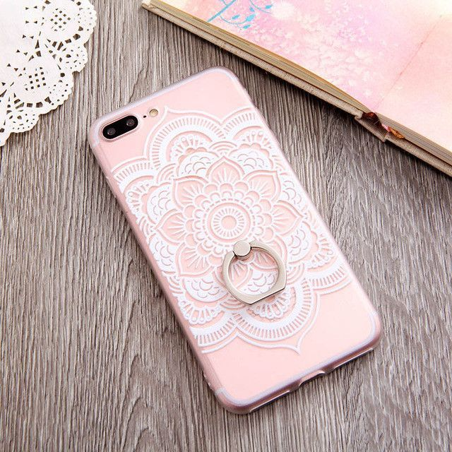 Ring Grip Lace Flower Pattern Case For iphone 7 7plus Case Hollow Retro Vintage Relief Phone Cases For iphone 6 6s 6plus Case