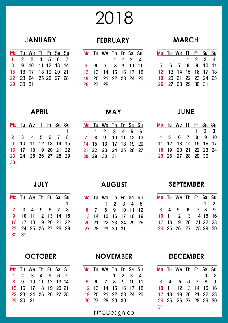 printable 2018 calendars by month
