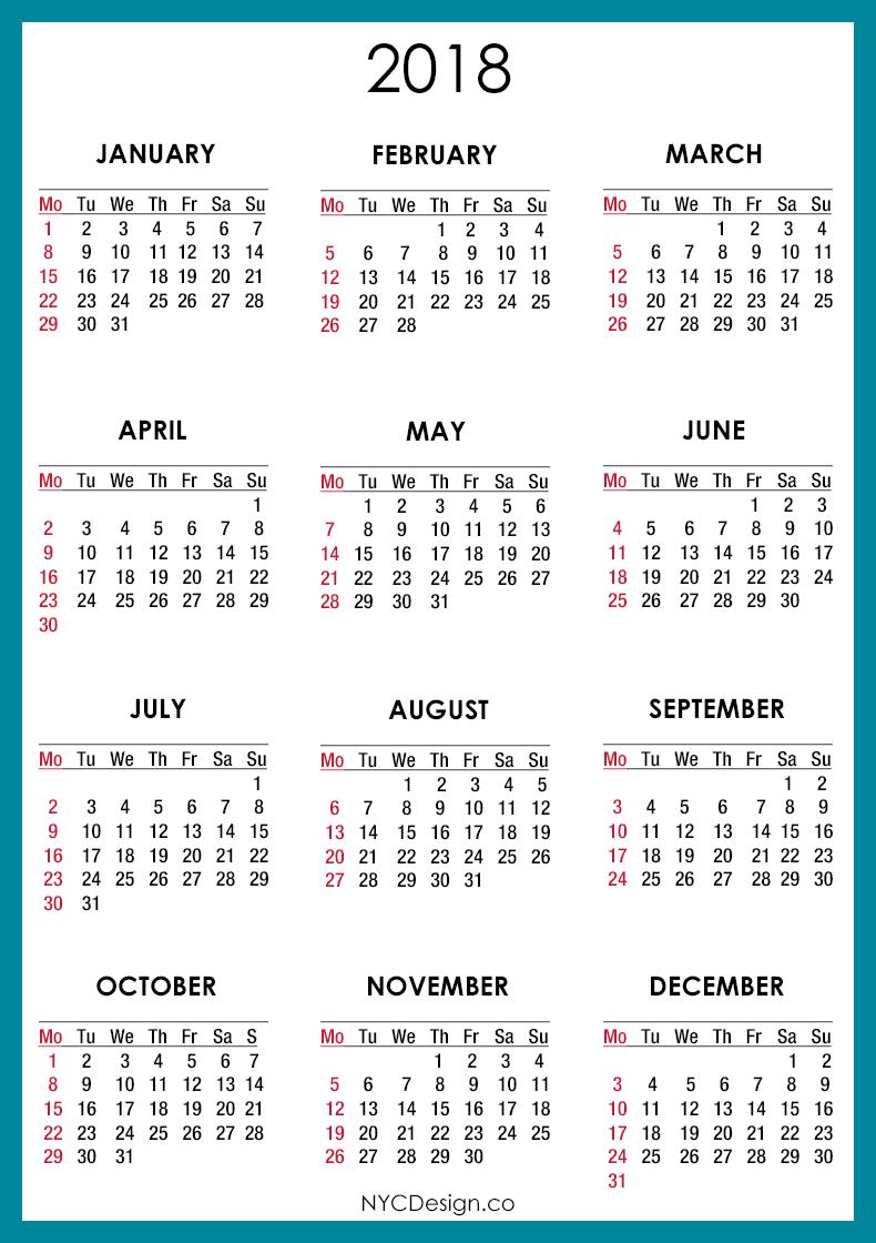 2018-Calendar-Blue-001.png (790×1120) | dates | Pinterest ...