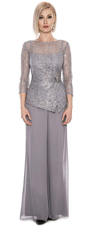 d7adbd3cf92 Graceful Pant Suits Lace   Chiffon Bateau Neckline Full-length Mother Of  The Bridal Dresses