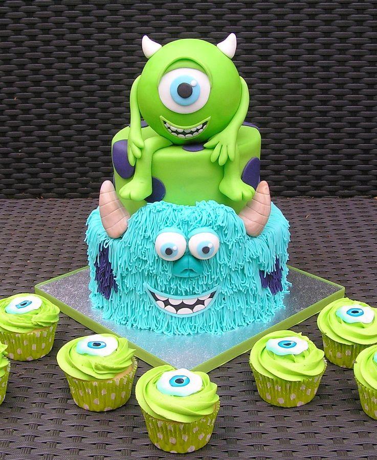 Incredible Monsters Inc Cake Cupcakes Pasteles De Disney Tortas Personalised Birthday Cards Epsylily Jamesorg