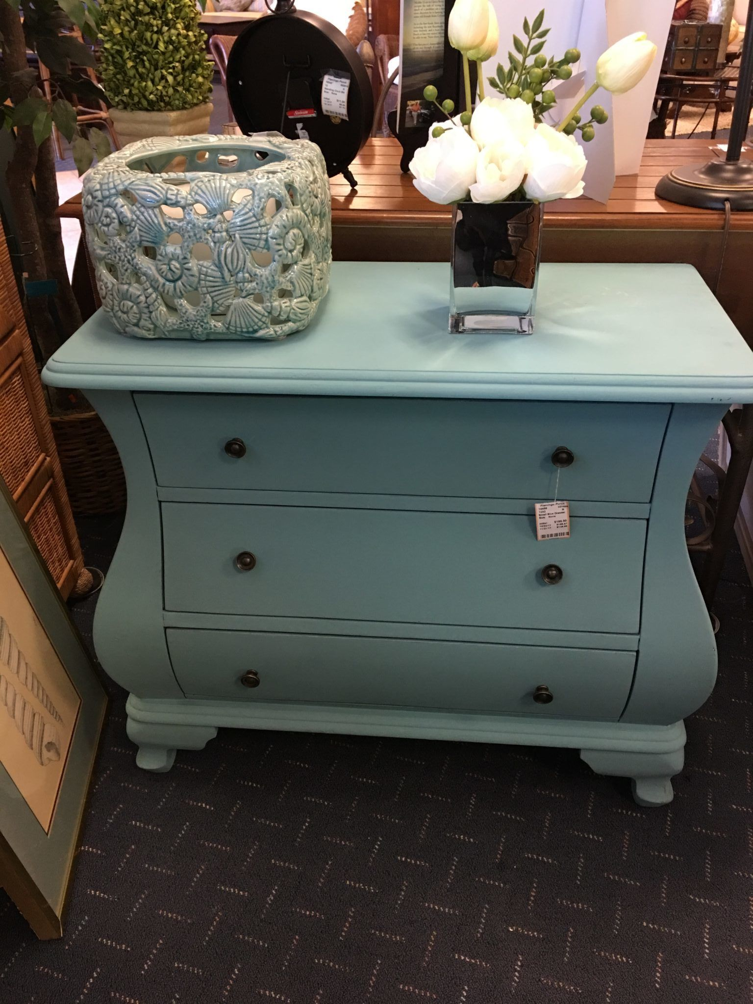 Flamingo Porch Consignment Located In Murrells Inlet Sc Beautiful Upcycled Aqua Small Chest Of Drawers Will Make Any Entry Way Inviting