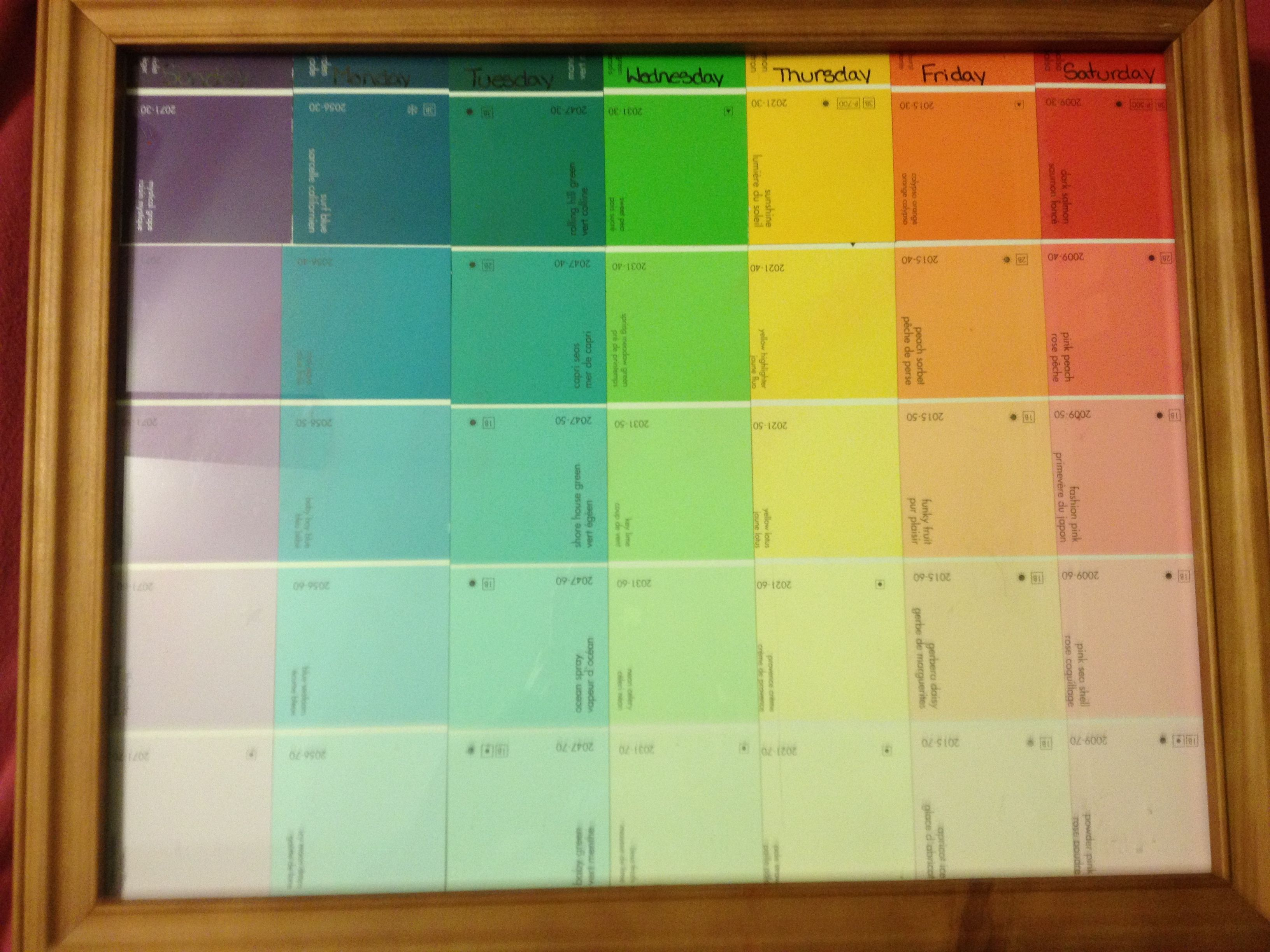 DIY Paint Swatch Calender | Paint swatches, Cute crafts ...