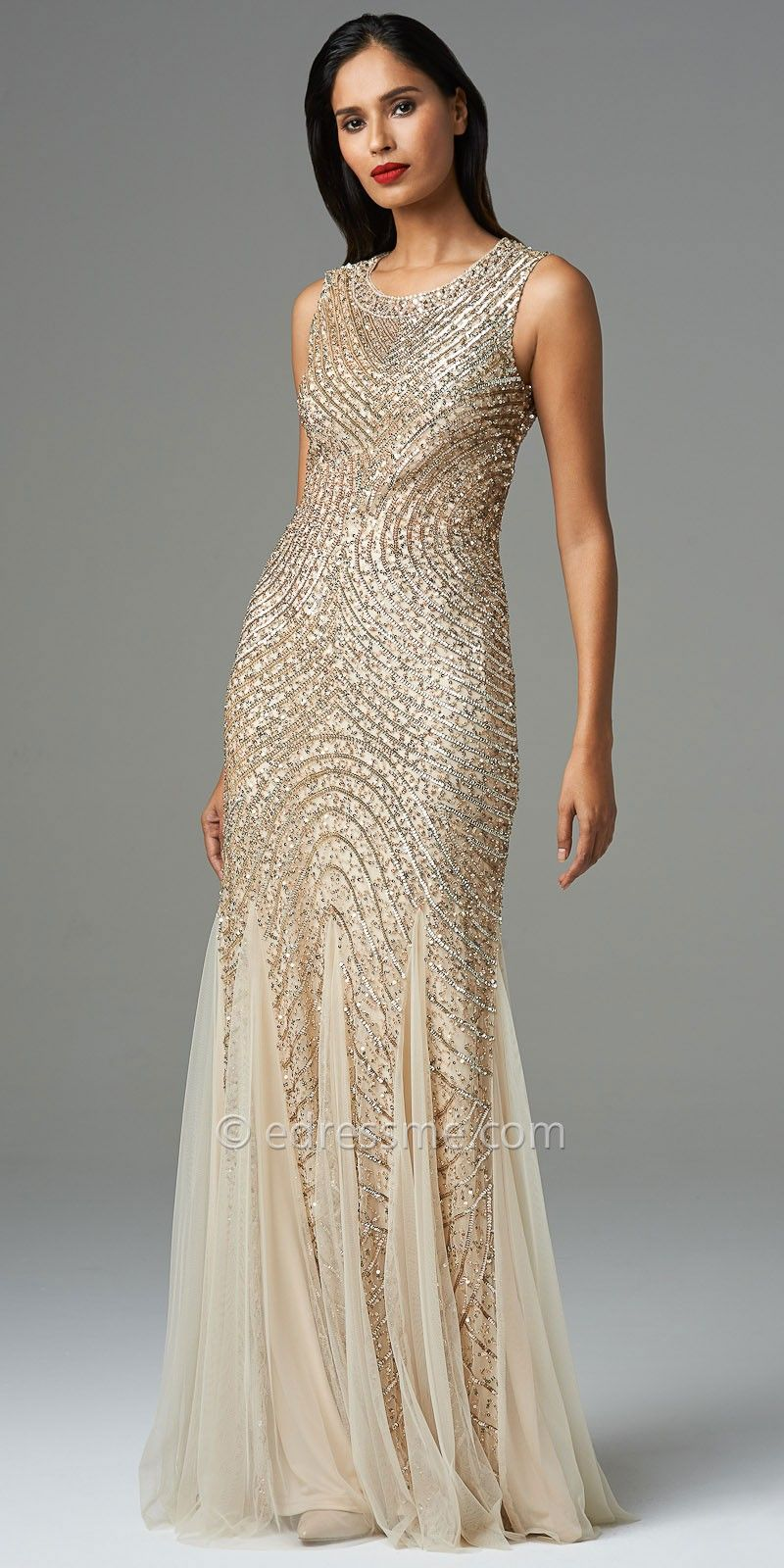 Sleeveless Beaded Cut-Out Open Back Evening Dresses by Aidan ...