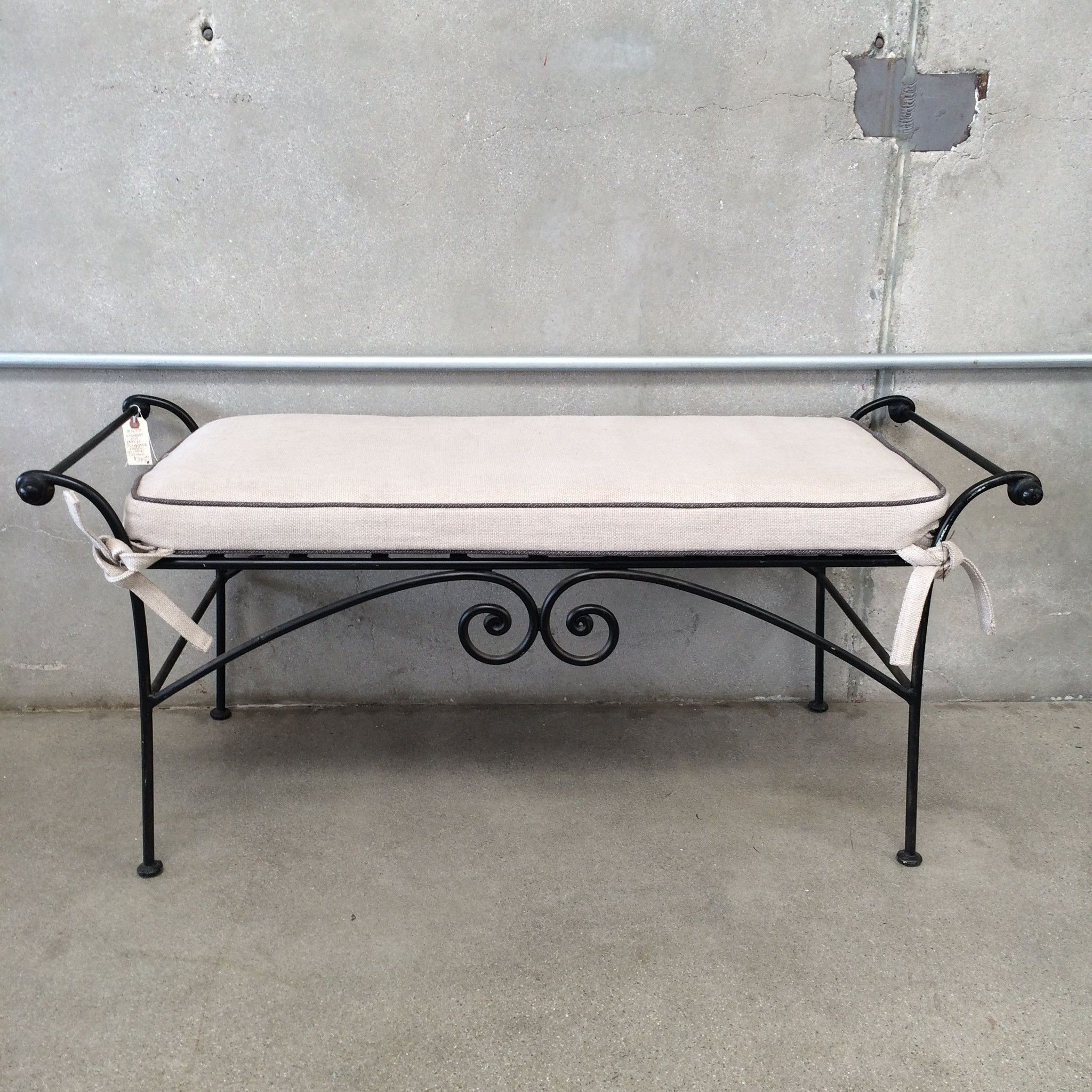 Wrought Iron Bench With Sunbrella Fabric On New Cushion 20 X 45 X 20 Wrought Iron Bench Iron Bench Iron Storage