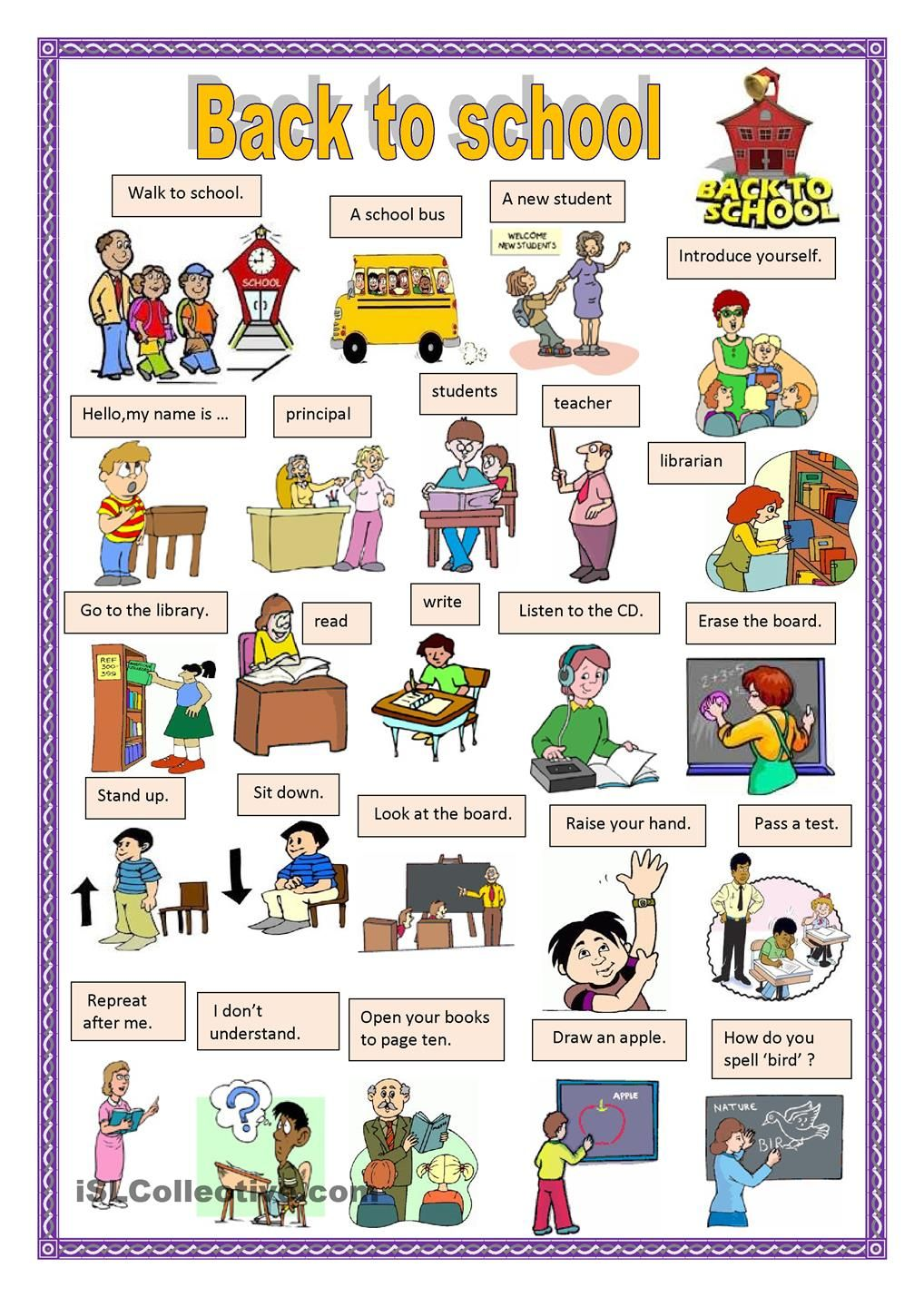 Back to school 1 | CLASSROOM LANGUAGE AND RULES ...