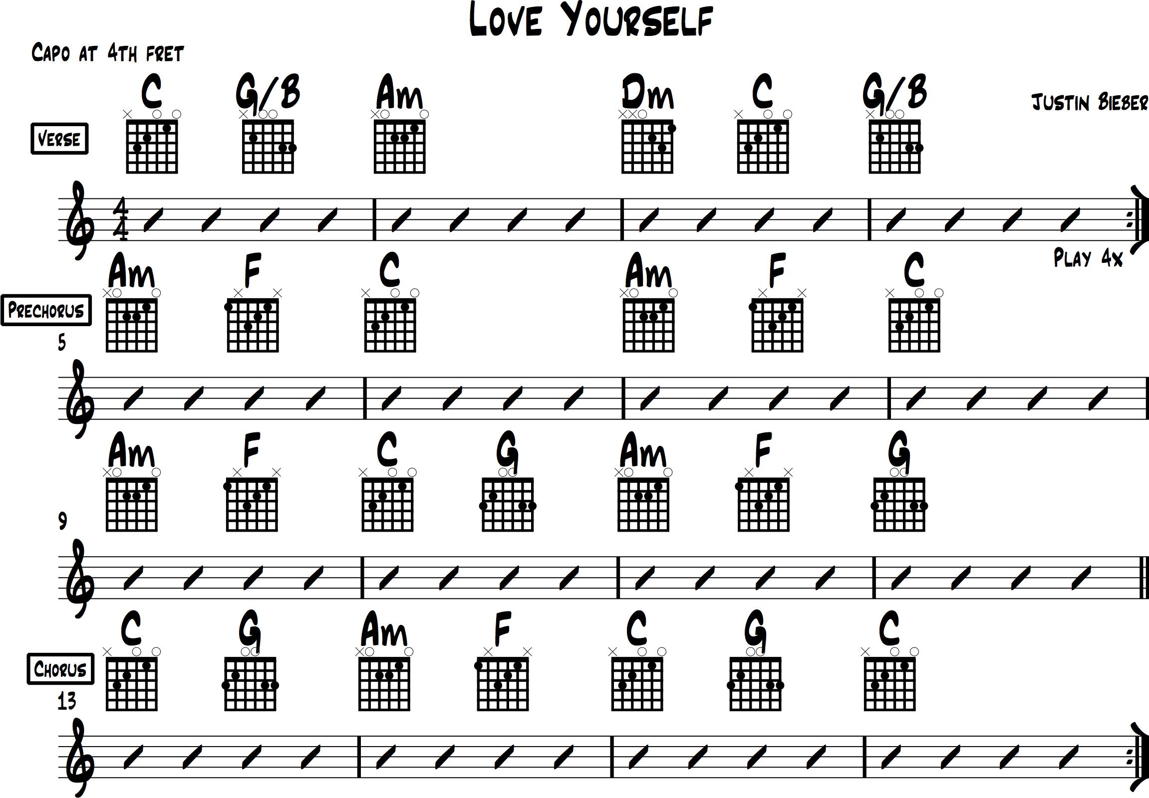 Justin Bieber Love Yourself Guitar Chords - Justin Bieber ...