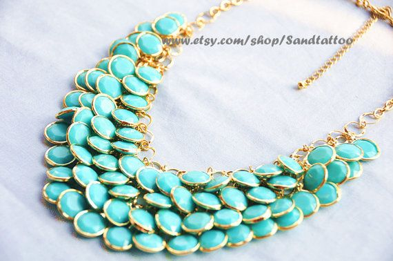 Aqua- Turquoise- Round Facet Bib Necklace, Bubble statement necklace, birthday gift, Mermaid Gift on Etsy, $19.00