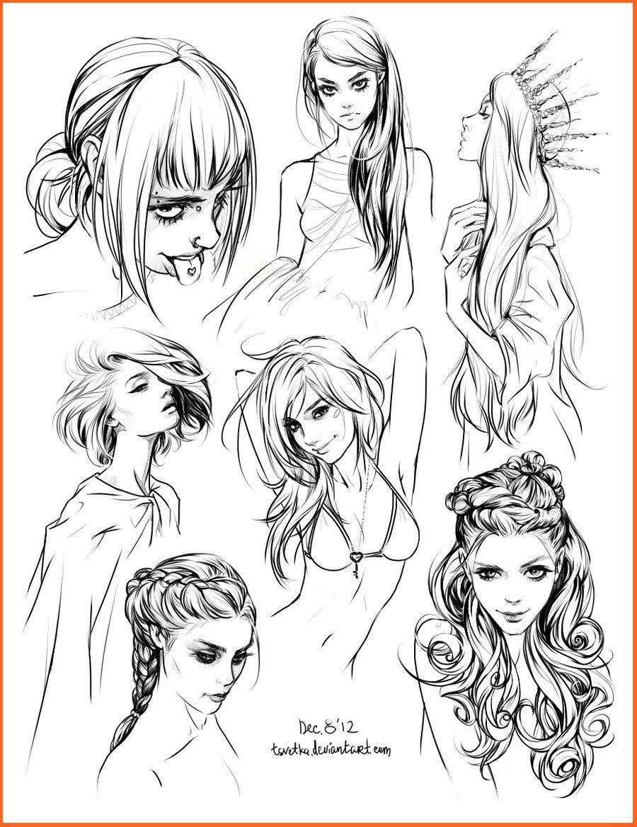 Hair Style Sketches By Tsvetka On Deviantart Hair Sketch How To Draw Hair Sketches