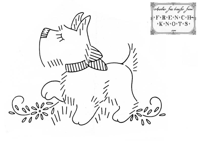 Free Scottie Dog Embroidery Transfer Pattern Embroidery
