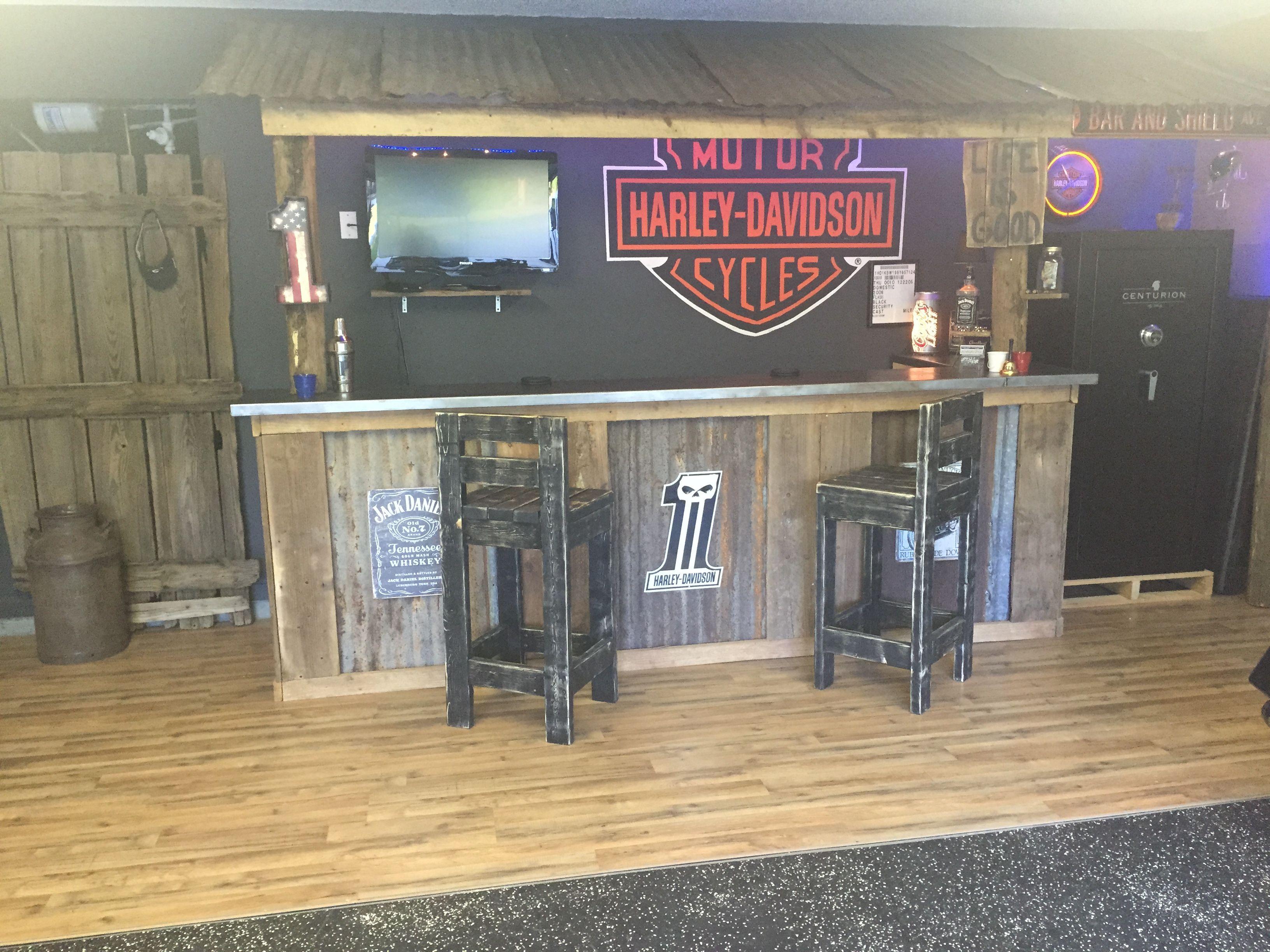 Harley Davidson Living Room Decor Ideas Brown Furniture Garage Bar, Man Cave, Basement Bars, Rustic ...