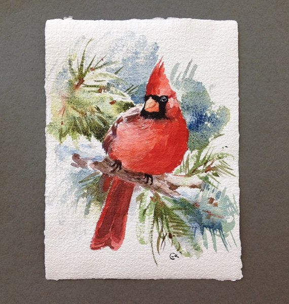 Original Watercolor Painting Bird Red Cardinal 7 X 9 Inches