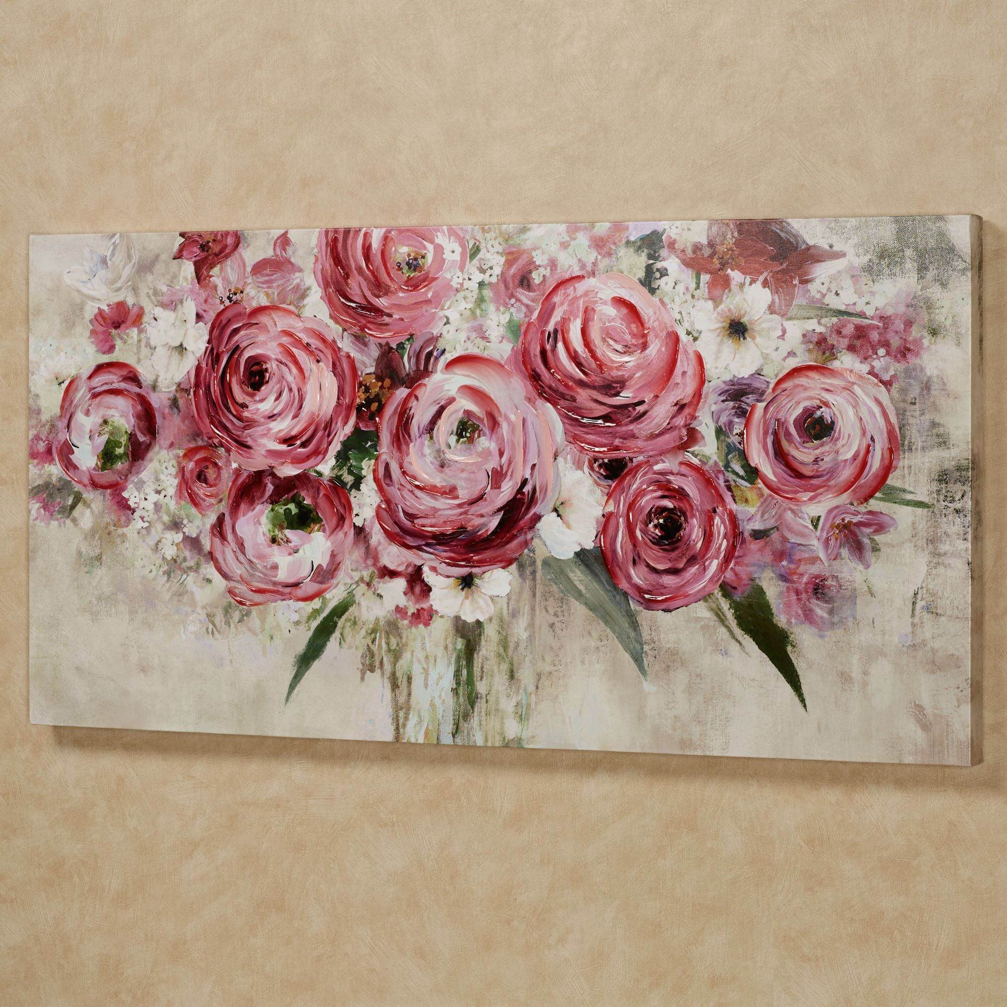 Rosa Impressions Floral Canvas Wall Art Flower Art Painting Floral Wall Art Canvases Flower Painting Canvas