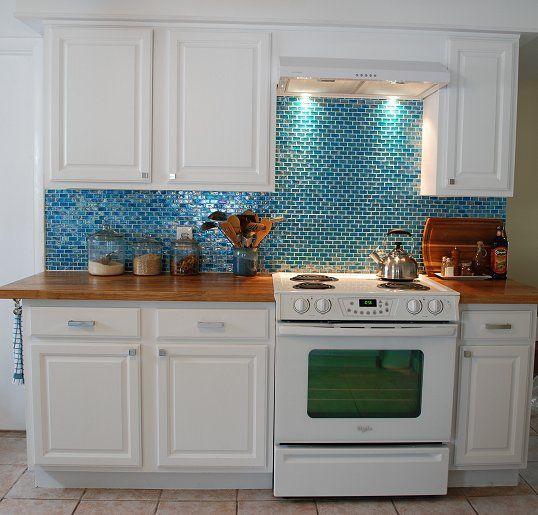 Black Kitchen Cabinets With Butcher Block Countertops: Kitchen, Turquoise Backsplash, Butcher Block Counters, White Cabinets, White Appliances