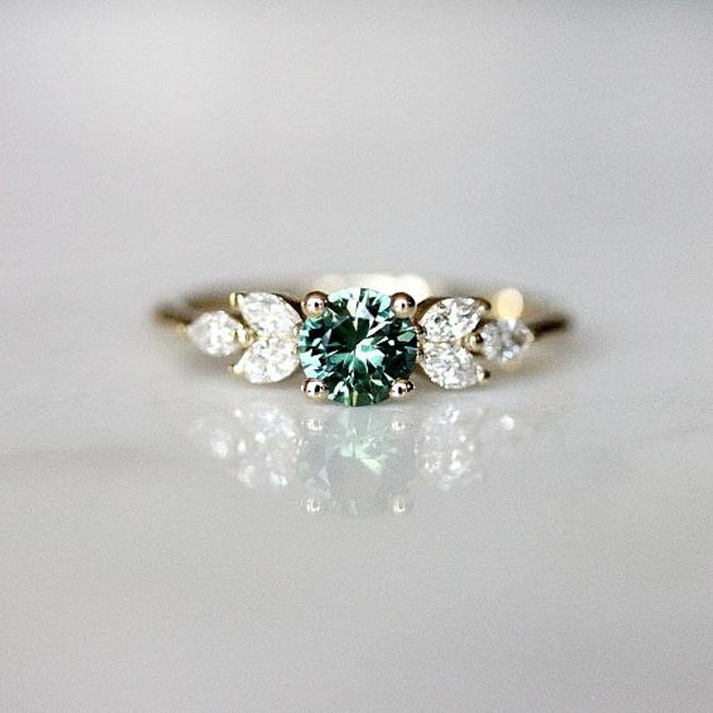 Teal Sapphire Engagement Ring Leaf Engagement Ring Montana | Etsy