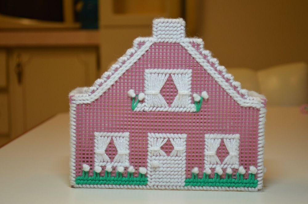 hand made yarn on plastic canvas napkin holder #Handmade