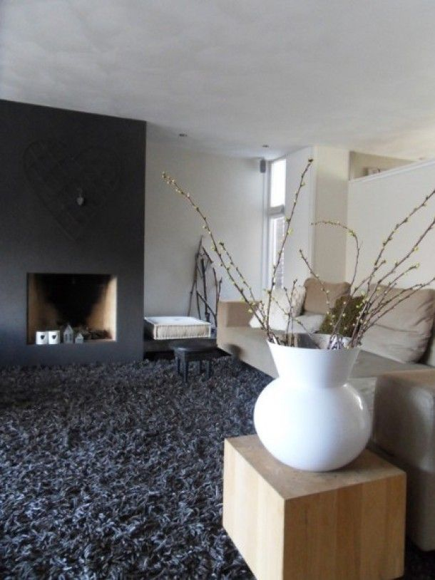 Hoogpolig tapijt verzacht de verder strak moderne