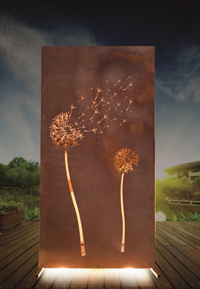 Sichtschutzwand Pusteblume 94 x 185 cm, rost Sichtschutzelemente - sichtschutz garten holz metall