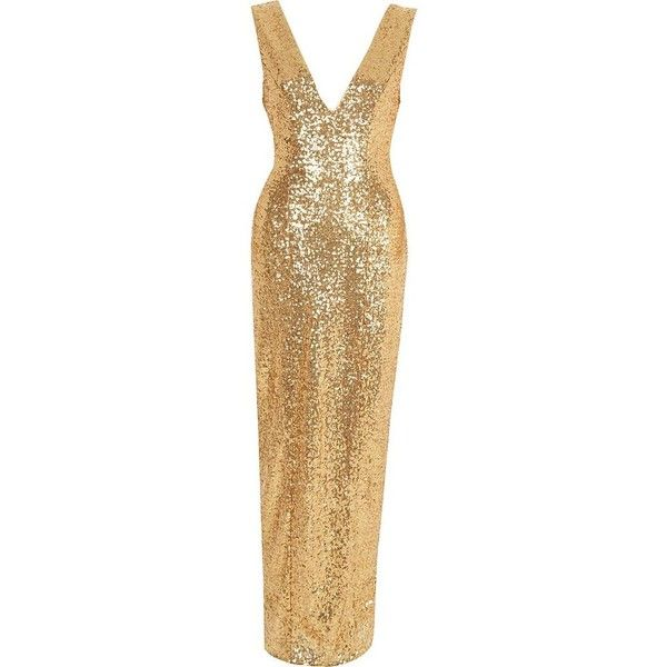 9e21aaf9 River Island Gold sequin plunge split front maxi dress ($140) ❤ liked on  Polyvore featuring dresses, gold, maxi dresses, women, sleeveless dress,  gold ...