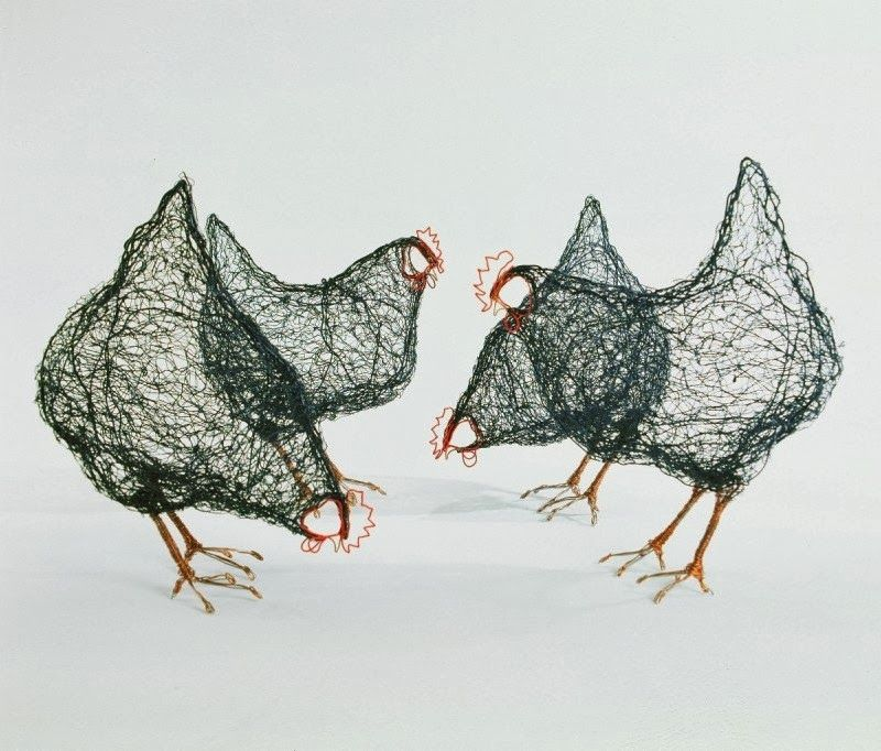 Chickens cool contemporary wire art sculptures for arty easter gifts ...