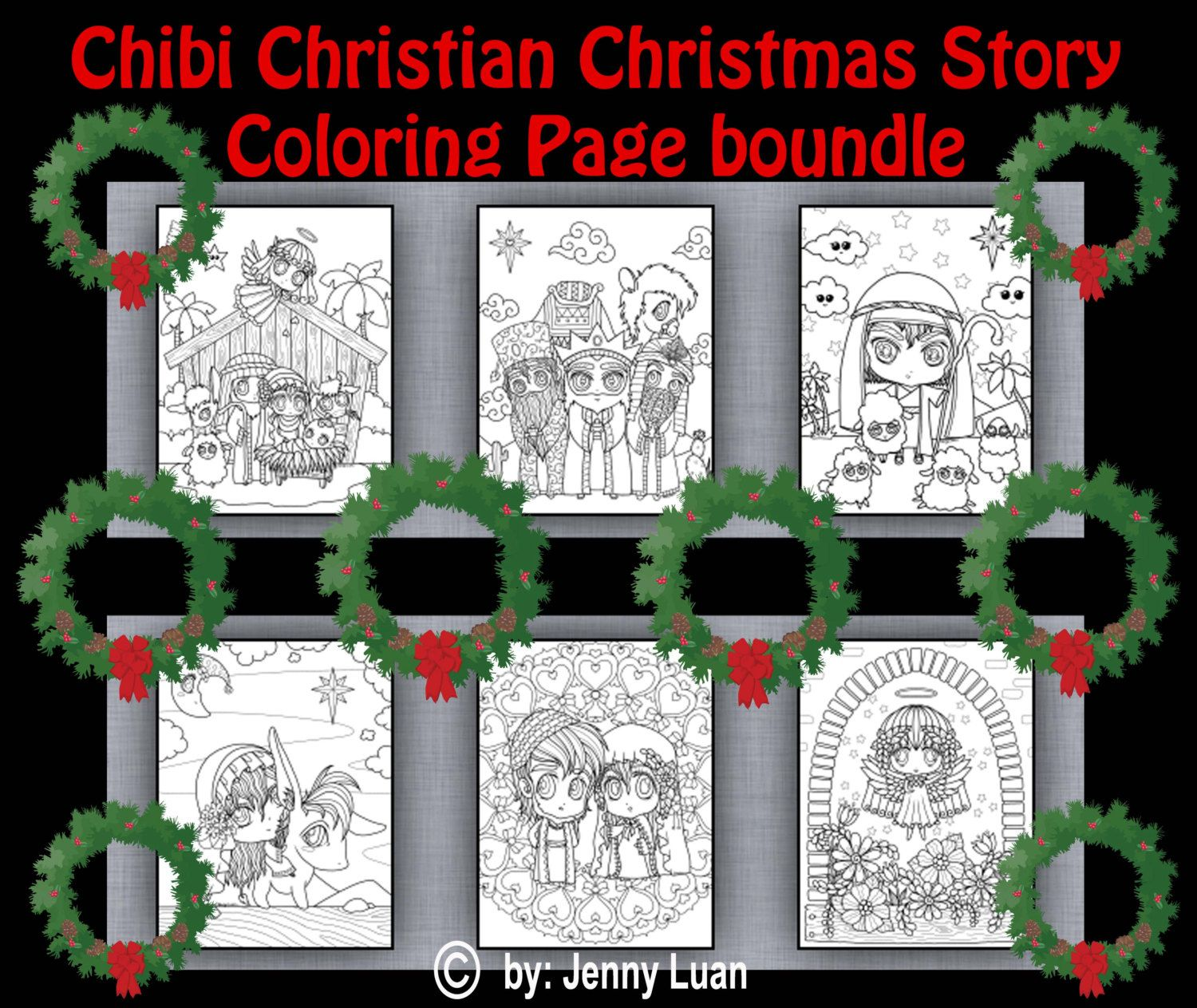 Chibi Christian Christmas Story Coloring Page Bundles for Adult ...