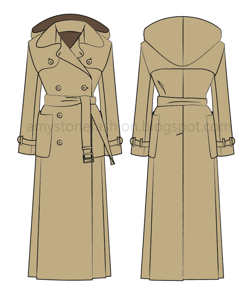 Adobe Illustrator Trench Coat Flat Fashion Sketch Templates Coat Fashion Trench Coat Style Trench Coat Pattern