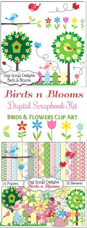 Birds n Blooms Scrapbook Kit for Digital Scrapbooking Card Making, Crafts, Party…