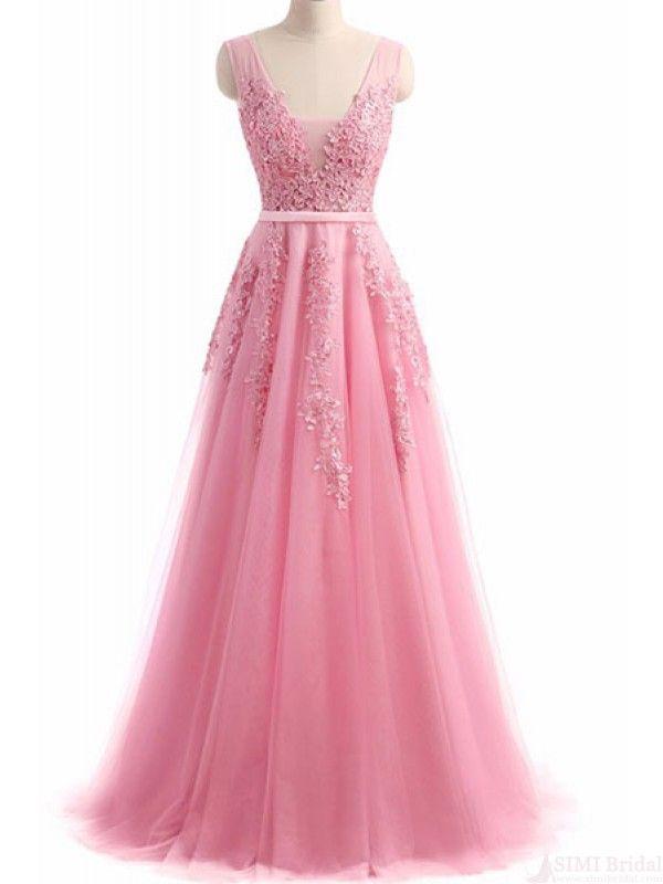 A Line Applique V-neck Long tulle Prom Dresses Evening Dresses ...