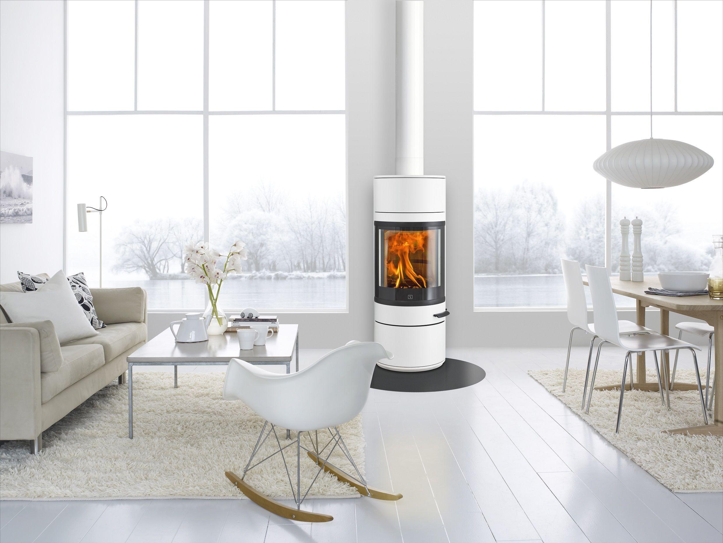Stunning glossy white Scan 83 1 woodburning stove