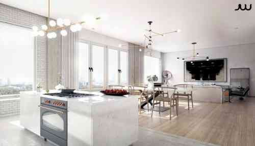 Maison luxe  intérieurs design chic et raffinés - cuisine ouverte sur salon m