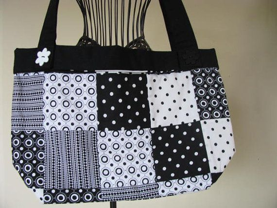 Patchwork Tote Bag Black And White Circles And by kelleysneedle