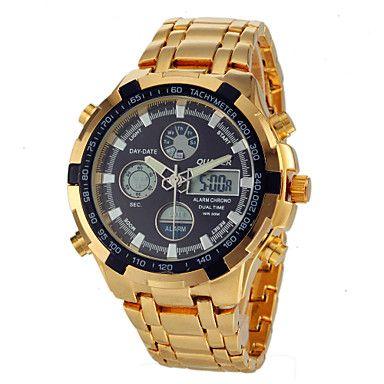 Herr+Watch+Japansk+kvartsur+Sportsklocka+LCD+/+Kalender+/+Kronograf+/+Vattenavvisande+/+Dubbel+tidszon+/+alarm+Rostfritt+stål+Band+–+SEK+Kr.+262
