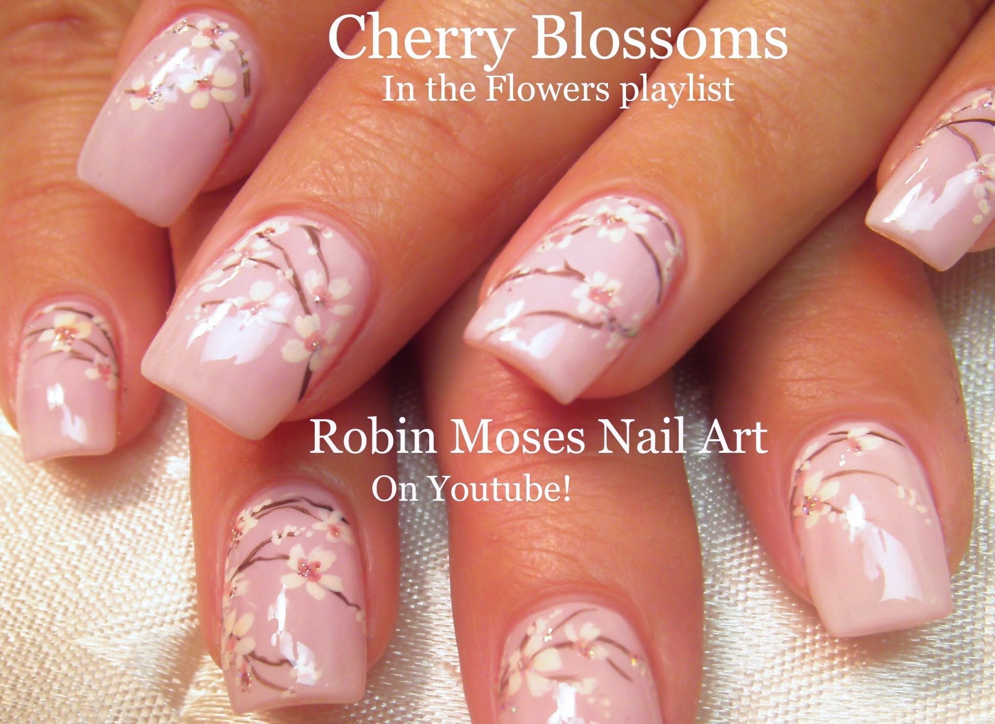Cherry Blossom Nails Blush Pink Flower Nail Art Design Tutorial Cherry Blossom Nails Pink Flower Nails Floral Nail Art