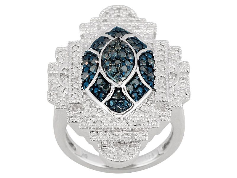 dd8011982 Blue and white diamond rhodium over silver ring .25ctw | *Jewelry ...