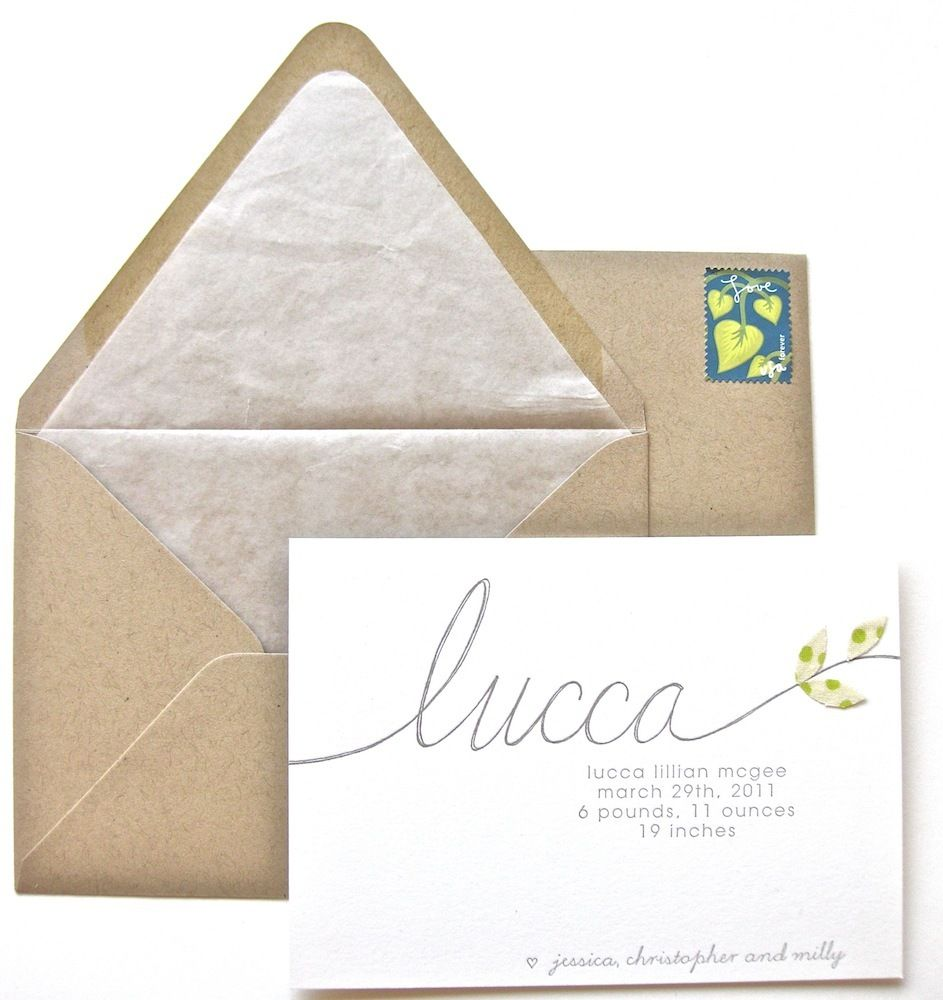 Lucca Letterpress Announcement Letterpress Lucca Baby Girl Wishes