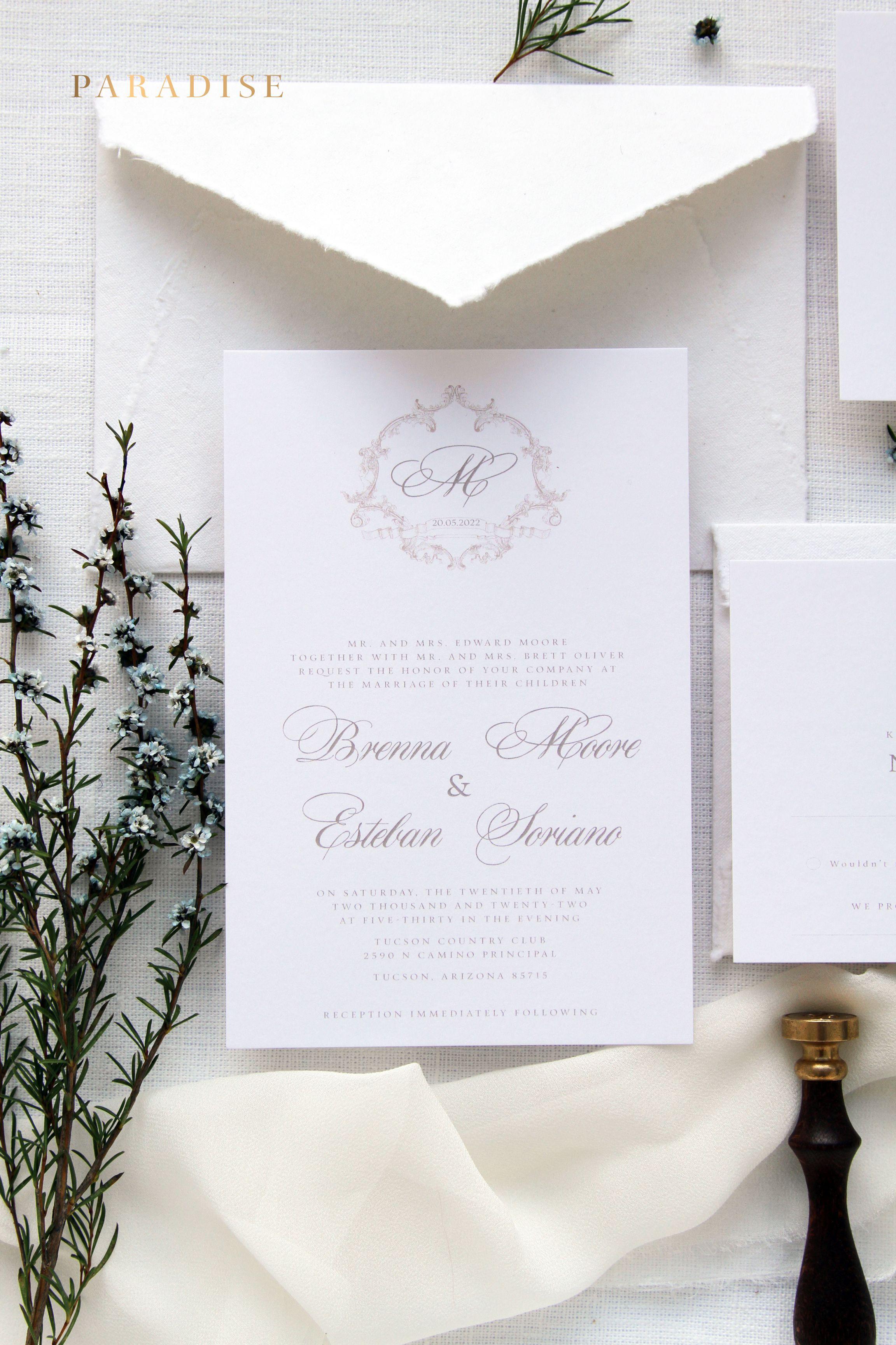 June Wedding Invitation Set, Traditional Wedding Invitations Elegant ...