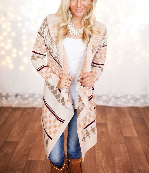 Taupe Peach Ivory Aztec Navajo Tribal Knit Open Striped Cardigan ...