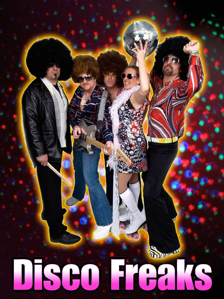 The DISCO FREAKS performing 70s disco music LIVE + Elvis + DJ & dancing-