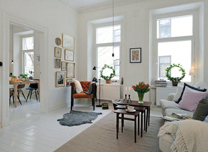 Wohnzimmereinrichtung Ideen Skandinavischer Stil Teppiche Pflanzen Weisse Wnde
