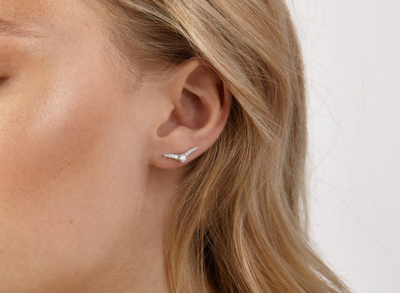 On Model View Pave Chevron 1 4 Carat Earring With White Diamonds Small Silver Hoop Earrings Sterling Silver Hoops Silver Hoop Earrings