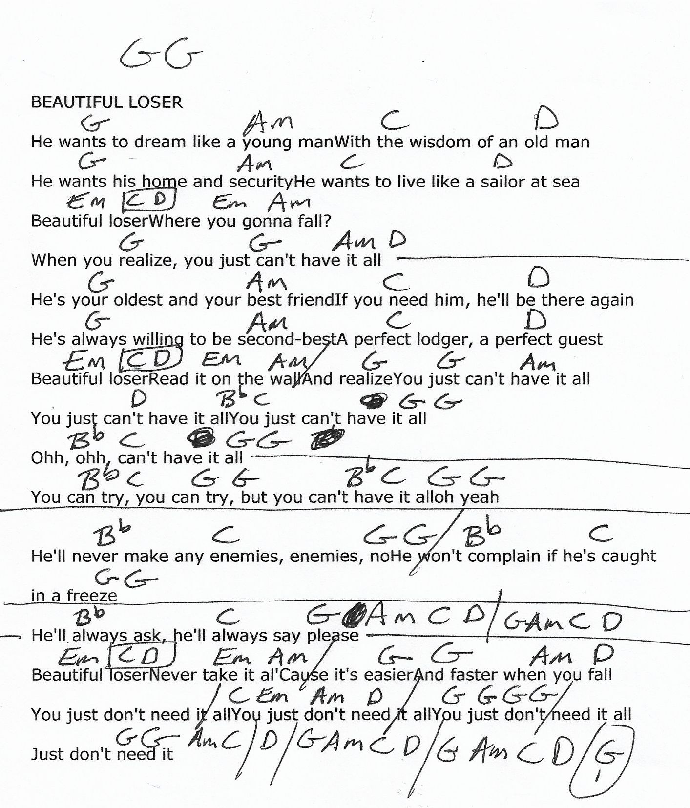 Beautiful Loser Bob Seger Guitar Chord Chart With Images