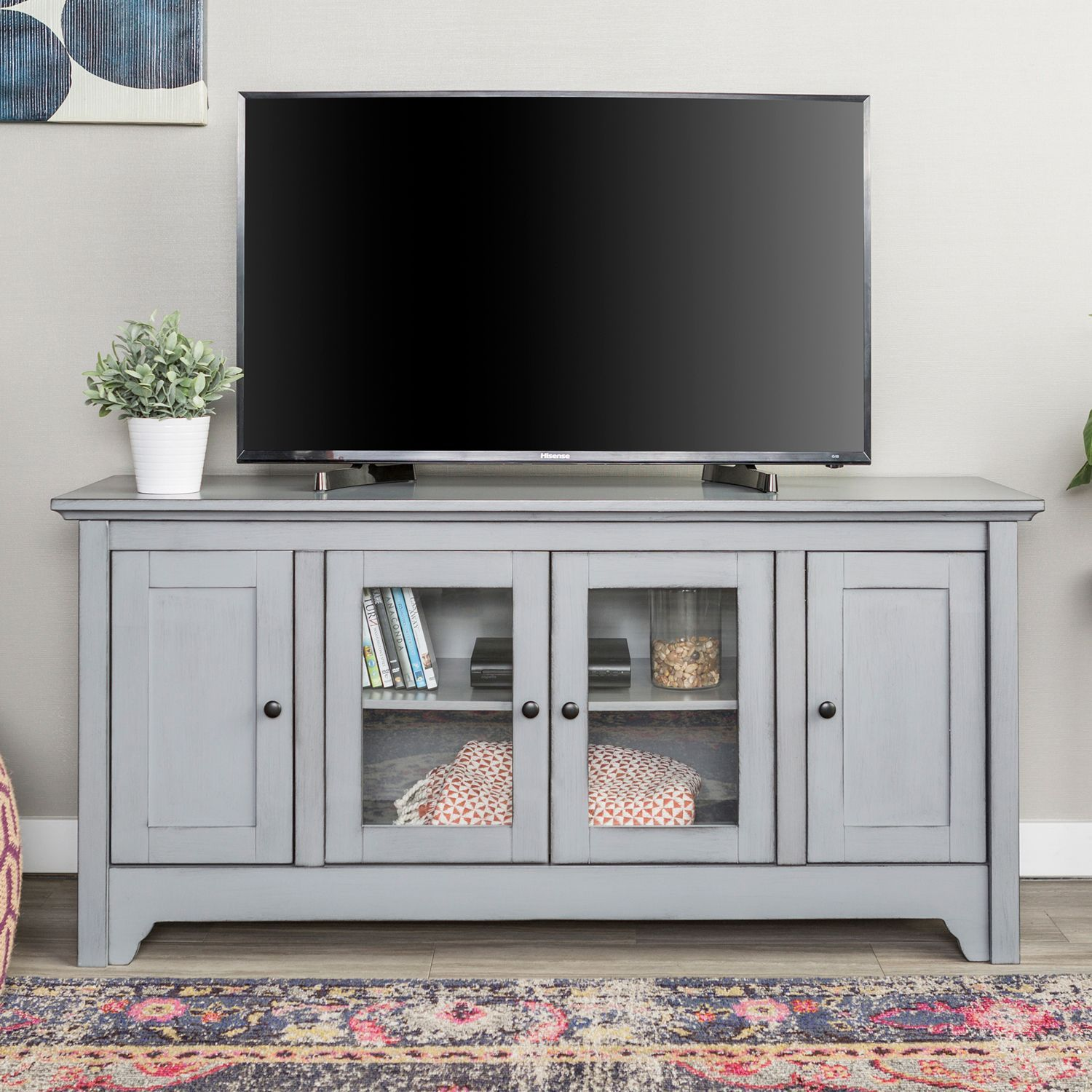 Modern Antique Gray 52 Tv Stand With Glass Doors Pier 1 Imports Tv Stand With Glass Doors Tv Media Stands Glass Tv Stand