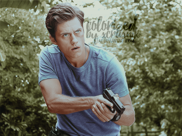 Aaron Tveit Colorization by xcrusnik