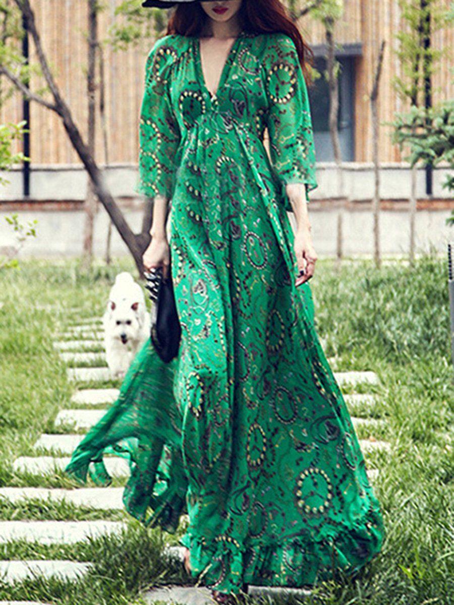 Deep vneck printed maxi dress in floral dress pinterest