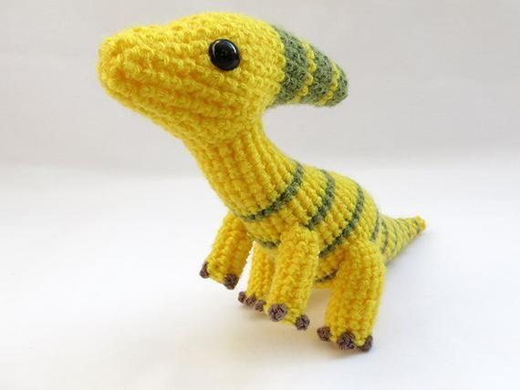 Crochet PATTERN PDF - Amigurumi Dinosaur Parasaurolophus - Iguanodon amigurumi pattern, duckbill din #crochetdinosaurpatterns