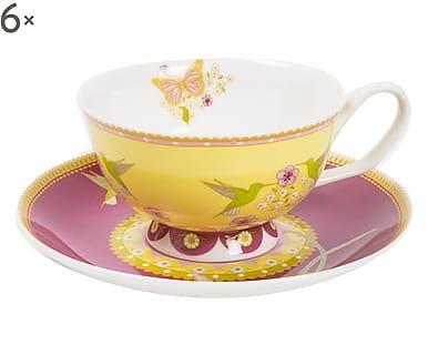 Credenza Con Tazze : Set di tazze te con piattino in porcellana antoniette casa