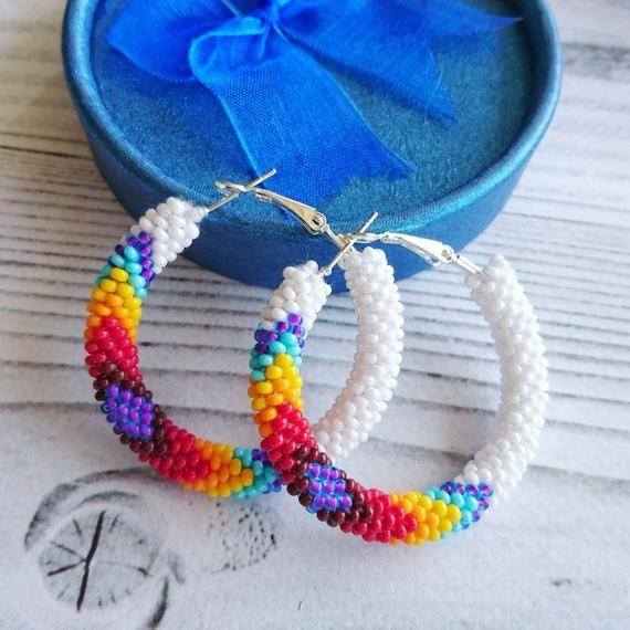 Photo of Native American inspired White beaded hoop earrings, Peyote earrings Beadwork , White seed bead stud hoops, Ethnic Boho jewelry hoops