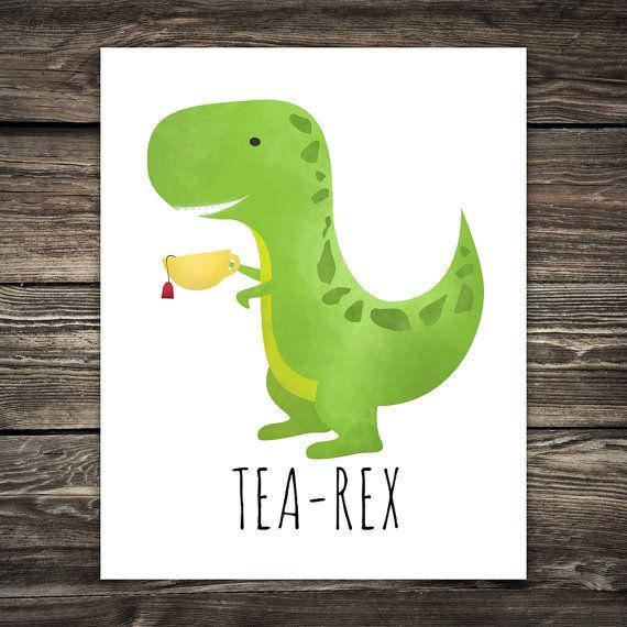 Tea Rex Printable 8x10 Digital Poster Print Cute Dinosaur Drinking Tea Rex Illustraion Teacup T Rex Dino Dinosaurs Kit Dinosaur Pictures Poster Prints Dinosaur