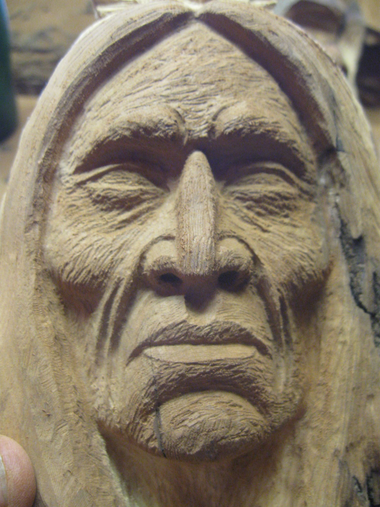 How To Carve Using A Picture Study Of Carving A Native American Indian Wood Carving Designs Wood Carving Faces Wood Carving Patterns